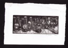 Véritable Gravure Signée Françoise Dubois, 1990, Verres à Bière, 18/20. - Non Classificati