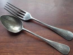 TURNFEST BASEL 1912 - Grav. Armand - Vork ( Fourchette ) + Lepel ( Cuillère ) Zilver Argent Silver +/- 150 Gram ) ! - Silverware
