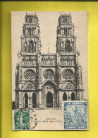 ORLEANS Cathédrale, Eglise Sainte-Croix Ayant Circulée Le 5 Juillet 1919 ; Vignette ERINOPHILE Sur JEANNE-D'ARC Voir Sca - Orleans