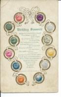 Birthday Souvenir, Birth Stones, 1908 To 1915 Golden Age Postcard # 9198 - Anniversaire