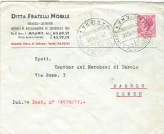 MILANO, CORRISP.ZE  E PACCHI - FIERA- SERVIZI DISTACCATI, SU BUSTA VIAGGIATA 1966, PER BAROLO CUNEO - 1961-70: Marcophilia