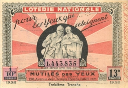 BILLET DE LOTERIE NATIONALE  1938 TREIZIEME TRANCHE - Billets De Loterie