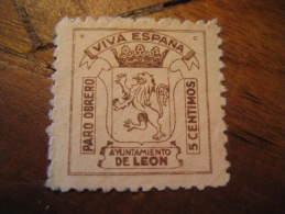 LEON Paro Obrero Ayuntamiento Lion Poster Stamp Label Vignette Viñeta España Guerra Civil War Spain - Vignettes De La Guerre Civile