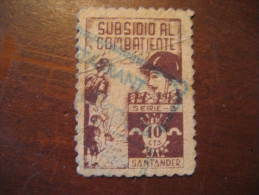 SANTANDER Cantabria Subsidio Al Combatiente Poster Stamp Label Vignette Viñeta España Guerra Civil War Spa - Vignetten Van De Burgeroorlog