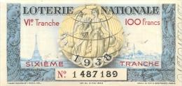 BILLET DE LOTERIE NATIONALE  1938 SIXIEME TRANCHE - Billets De Loterie