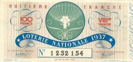 BILLET DE LOTERIE NATIONALE  1937 HUITIEME  TRANCHE - Billets De Loterie