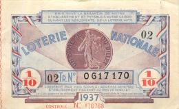 BILLET DE LOTERIE NATIONALE  1937 DEUXIEME  TRANCHE - Billets De Loterie