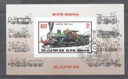 Korea 1983 Trains, Imperf. Sheet, Used T.266 - Korea, North