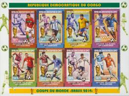 cdr14101a R.D. Congo 2014 Football Soccer Brasil s/s