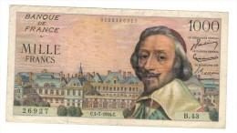 France, 1000 Fr. 1954, VG/F. Richelieu. - 1871-1952 Circulated During XXth