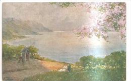 75623)cartollina Firmata Con Disegno Naturalistico E Innamorati Viaggiata - Aicard