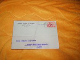LETTRE CARTE POSTALE DE 1939. / MAISON LOUIS COQUELZ BRUXELLE BELGIQUE A UNION SUCRIERE AULNOIS SOUS  / CACHET + TIMBRE. - Unclassified