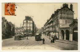 76  -  Rouen  -  Les Rues Lafayette Et Saint-Sever  -  Attelage 2 Chevaux, Tramway .....Année 1908 - Rouen