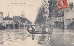92 BOULOGNE  Inondations De La SEINE 1910  Grande Rue Maisons Dans L´ EAU   Barques - Boulogne Billancourt