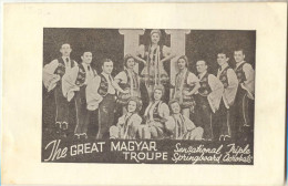 4Cp-377: The Great MAGYAR TROUPE  SensationalJripe Springboard Acrobats  140mm X 90mm - Advertising