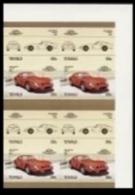 TUVALU 1985. Ferrari Automobiles:III 55c IMPERF.CORN.se.tenant 8-BLOCK (8 Stamps)  [non Dentelé, Geschnitten,no Dentado] - Tuvalu (fr. Elliceinseln)