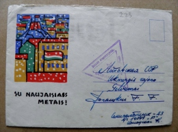 Cover From USSR Lithuania 1965 Special Triangle Cancel Free Soldiers Mail, Sent From Semipalatinsk New Year - Lithuania