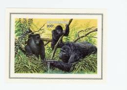 Rwanda-1985-Gorilles-WWF-  BLOC NON DENTELE***MNH - Gorillas
