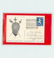 POLSKA - Cartolina Intero Postale - SCHERMA  -  MASCHERA - SPADA   FIORETTO   SCIABOLA - Scherma
