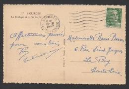 DF / FRANCE SUR CARTE POSTALE / TP 716A MARIANNE DE GANDON / OBL. LOURDES 10 -IX 1947 HAUTES PYRENEES - France