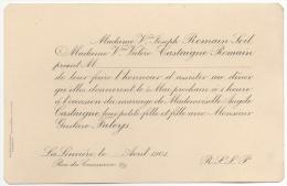 Faire-parts. La Louvière 1901, Me. Romain-Soil & Castaigne-Romain. Mariage De Angèle Castaigne & Gustave Faleys. - Wedding