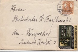 1917, LETTRE ALLEMAGNE, BELLE VIGNETTE KAISER-NATRON /3621 - Allemagne