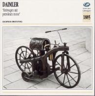 1895 - FICHE TECHNIQUE MOTO - DÉTAIL COMPLET À L´ENDOS - DAIMLER REITWAGEN MIT PETROLEUM MOTOR - ALLEMAGNE - Motor Bikes