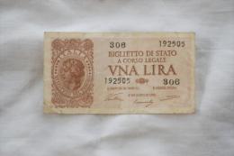 BIGLIETO DI STATO UNA LIRA 1944 - [ 1] …-1946 : Royaume