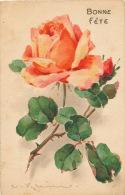 """FLEURS - Jolie Carte Fantaisie Fleurs Rose """"Bonne Fête"""" Signée Catharina KLEIN - Klein, Catharina"""