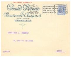 1928, LETTRE  BELGIQUE, GRAND BAZAR  DU BOULEVARD ANSPACH,BRUXELLES Pour La FRANCE, /2251 - Briefe U. Dokumente