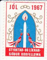 IJsland Kerstvignetten Reykjavik Odd Fellow  1967 AFA 20.00 DKK Gebruikt - Other