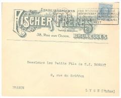 1926, LETTRE  BELGIQUE, FISCHER FRERES,BRUXELLES Pour La FRANCE, /5578 - Briefe U. Dokumente