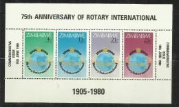 ZIMBABWE 1980 ROTARY 75TH ANNIVERSARY SOUVENIR SHEET 75 ANNIVERSARIO FOGLIETTO MNH - Zimbabwe (1980-...)