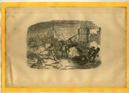 - COMBAT AU MAYEN AGE (chevaliers A Cheval)  . GRAVURE SUR BOIS DU XIXe S  . DECOUPEE ET COLLEE SUR PAPIER . - Documents