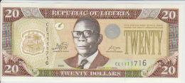 Liberia 20 Dollars 2009  Pick 28 UNC - Liberia