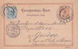 AUTRICHE : Entier Postal Avec Affranchissement Complémentaire, Oblitéré EIBENSCHITZ Le 2.8.1898 à Destination De Genève - Entiers Postaux