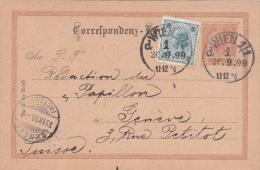 AUTRICHE : Entier Postal Avec Affranchissement Complémentaire, Oblitéré WIEN 1/1 Le 20.9.1899 à Destination De Genève - Entiers Postaux