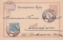 AUTRICHE : Entier Postal Avec Affranchissement Complémentaire, Oblitéré REICHENBERG Le 22.3.1897 à Destination De Genève - Ganzsachen