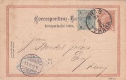 AUTRICHE : Entier Postal Avec Affranchissement Complémentaire Oblitéré  PRAG PRAHA Le 21.3.1892 à Dest. De Genève - Entiers Postaux