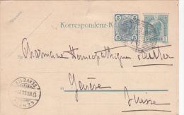 AUTRICHE : Entier Postal Avec Affranchissement Complémentaire Oblitéré Le 13.VIII.1906, à Destination De Genève - Entiers Postaux