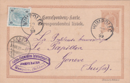 AUTRICHE : Entier Postal Avec Affranchissement Complémentaire Oblitéré HUMPOLEC Le 29.3.1899, à Destination De Genève - Ganzsachen