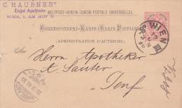 AUTRICHE : Entier Postal Oblitéré WIEN Le 19.6.1890 à Destination De Genève - Entiers Postaux