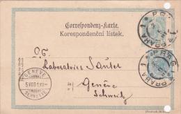 AUTRICHE : Entier Postal Avec Affranchissement Complémentaire Oblitéré PRAG Le 2.VIII.1901, à Destination De Genève - Entiers Postaux