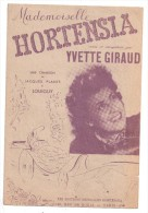 Partitions Musicales, Mademoiselle HORTENSIA, Une Chanson De J. PLANTE Et LOUIGUY, Editions Hortensia, Frais Fr : 1.80 - Partitions Musicales Anciennes