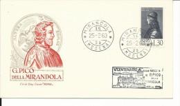 FDC008 - 25.2.1963 - PICO DELLA MIRANDOLA - 2 ANNULLI - TONDO E A TARGHETTA - FDC