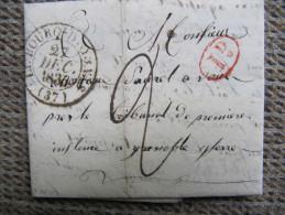 2-101 Hameau D'Enversin OZ Bourg D'OYSANS Oisans Grenoble Poste Rurale Décime Rural 1836 Restauration - Postmark Collection (Covers)