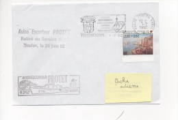 Aviso Escorteur PROTET - RETRAIT DU SERVICE ACTIF - Flamme TOULON NAVAL  Sur TP Port De Toulon - Postmark Collection (Covers)