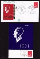 Lot De 4 Documents Philatéliques Premier Jour, Marianne, Pierre Béquet, Valeurs 0,45 Et 0,50 F, Paris, 1971 - 1971-76 Marianne (Béquet)