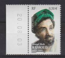 = Cinquantenaire De La Naissance Du Commandant Afghan Ahmad Shah Massoud (1953-2001) Neuf N°3594 - Dated Corners