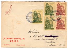 PORTUGAL - 3° CONGRESSO NACIONAL DE PESCA/FISHING / FDC TO ITALY 1951 - Marcophilie